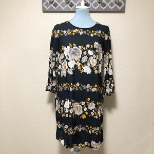 Gray Old Navy Floral Dress Bell Sleeve Shift, M
